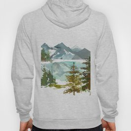 Forest green teal blue watercolor hand painted landscape Hoodie