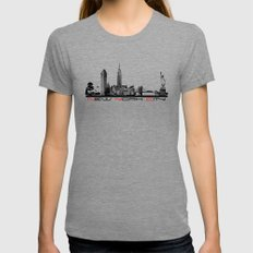 New York City skyline elegant Womens Fitted Tee Tri-Grey SMALL