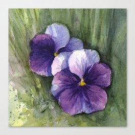 Purple Pansies Watercolor Flowers Painting Violet Floral Art Canvas Print
