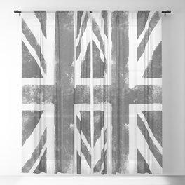 UK flag Grunge Black Sheer Curtain