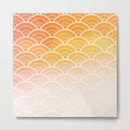 Orange Ombre Japanese Waves Pattern Metal Print