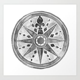 Watercolor Compass gray Art Print