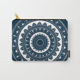 Ukatasana white mandala on blue Carry-All Pouch