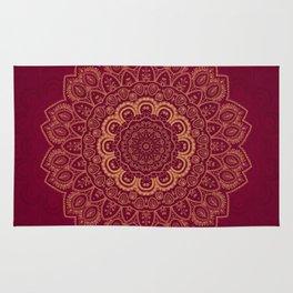 Golden Flower Mandala on Red Rug
