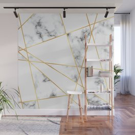 Stone Effects White and Gray Marble with Gold Accents Wall Mural