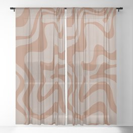 Liquid Swirl Abstract Pattern Taupe Clay Sheer Curtain