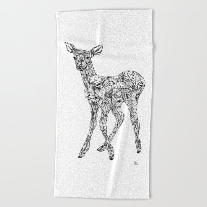 Leafy Deer Beach Towel
