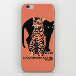Retro vintage Munich Zoo big cats iPhone Skin