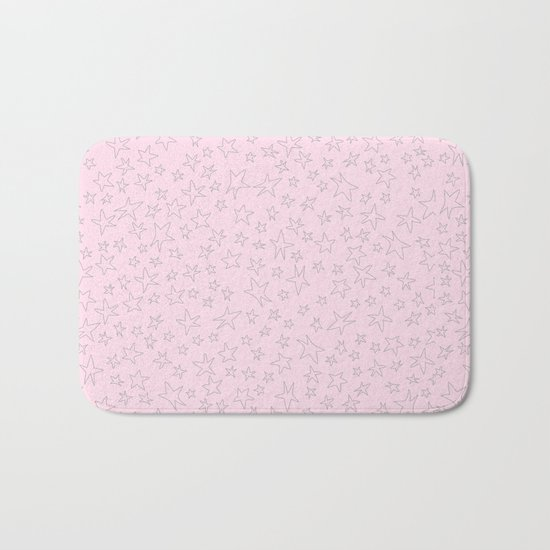 Grey handpainted little stars on pink background Bath Mat