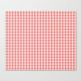 Coral Gingham Canvas Print