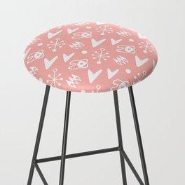 Mid Century Modern Atomic Boomerang Pattern Peach Bar Stool