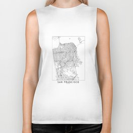 San Francisco White Map Biker Tank