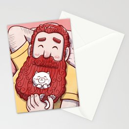 Full beard redhead man with cat Stationery Cards
