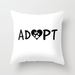 ADOPT Pawprint Cute Dog Cat Pet Shelter Rescue Throw Pillow