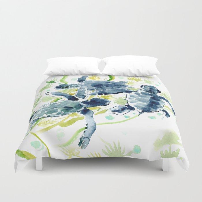 Sea Turtles , Indigo Blue Olive green Turtle art Duvet Cover