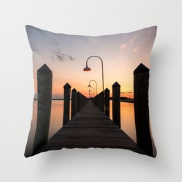 Rusty Rudder Dock Sunset Throw Pillow