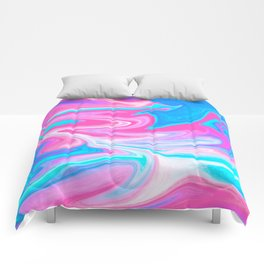 Modern abstract pink turquoise blue bright marble effect Comforters