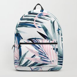 Fashion vector illustration with tropical palm leaves in pink and blue color, watercolor style Backpack