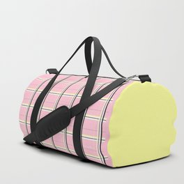 Brigitte B - Stripes yellow on pink background Duffle Bag