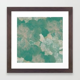 Teal Green Floral Hues Framed Art Print