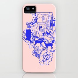 Illinois Wycinanki Pink and Blue iPhone Case