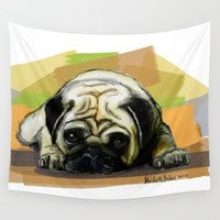 pug Wall Tapestries featuring Pug by Michelle Behar