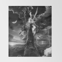 XVI. The Tower Tarot Illustration Throw Blanket