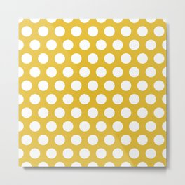 Mustard Yellow and White Polka Dots 772 Metal Print