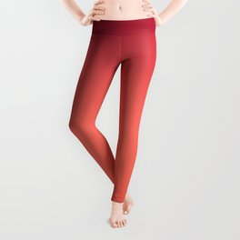 Living Coral Fiesta Jester Red Gradient Ombre Pattern Leggings