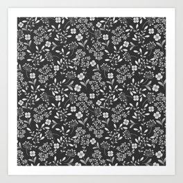 Botanical modern black white trendy floral pattern Art Print