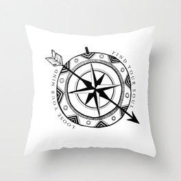 Life Compass Throw Pillow