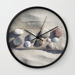 Beach pebble driftwood still life Wall Clock