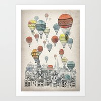 vintage map Art Prints featuring Voyages over Edinburgh by David Fleck