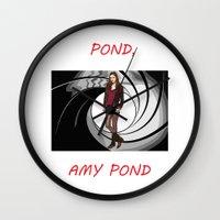 amy pond Wall Clocks featuring Pond, Amy Pond by DarkCrow