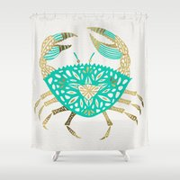 crab Shower Curtains featuring Crab – Turquoise & Gold by Cat Coquillette