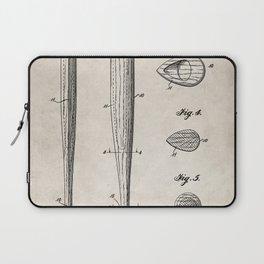 Baseball Bat Patent - Baseball Art - Antique Laptop Sleeve