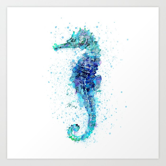 Blue Turquoise Watercolor Seahorse Art Print By Lebensart