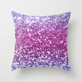Mermaid Glitters Sparkling Purple Cute Girly Texture Throw Pillow