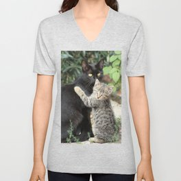 Mommy and me Kitten and Mother Cat Portrait Unisex V-Neck