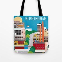 Birmingham, Alabama - Skyline Illustration by Loose Petals Tote Bag