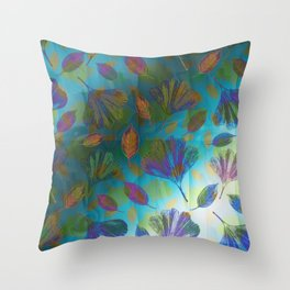 Ginkgo Leaves Under Water Throw Pillow