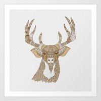 Reindeer tan Art Print