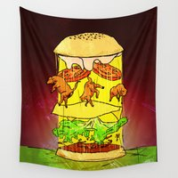 ufo Wall Tapestries featuring UFO Burger by MUSENYO