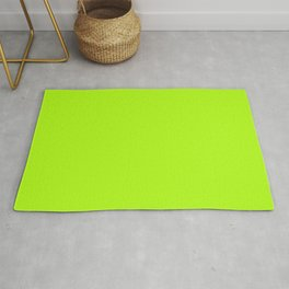 Solid Bright Green Yellow Neon Color Rug