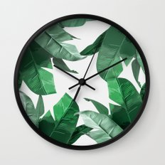 Tropical Palm Print Wall Clock