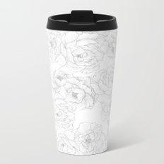 Peony Flower Pattern Metal Travel Mug