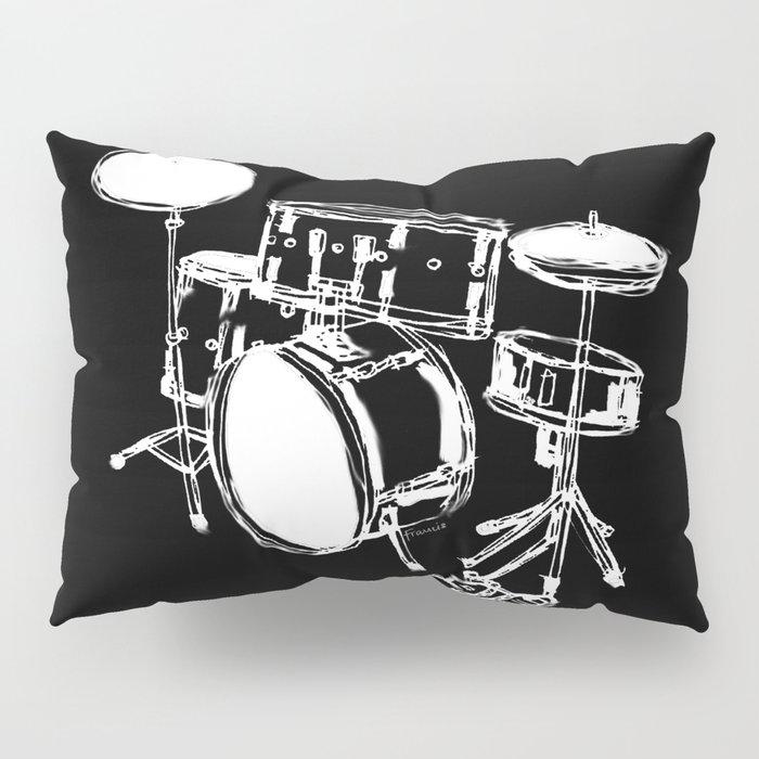 Drum Kit Rock Black White Pillow Sham