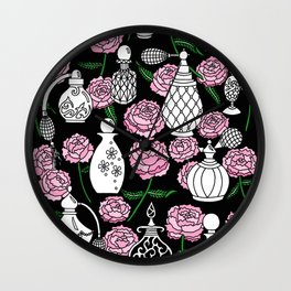 Perfume and Peonies Black and White Wall Clock