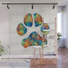 Colorful Dog Paw Print by Sharon Cummings Wall Mural