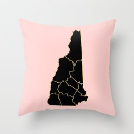New Hampshire map Throw Pillow